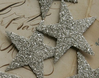 SILVER Large Glass Glitter Stars 8 count