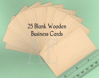 Blank wood cards set of 25 wood business cards wood tags set of 25 blank maple business cards or tags many uses for a unique and beautiful element thin veneer cards are 2 x 3 12 reheart Gallery