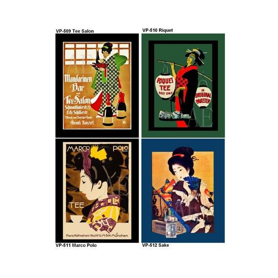 VP509-512 Vintage Poster Art Choose 8x10 or 5x7 Asian | Etsy