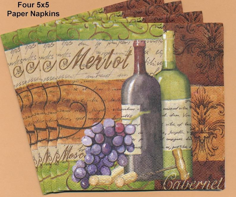 PN103 ~ Four Paper Napkins by Hoffmaster ~ 5x5  Wine Merlot Cabernet Purple Grapes