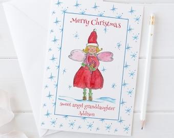 Granddaughter Merry Christmas Angel Greeting Card Custom Name