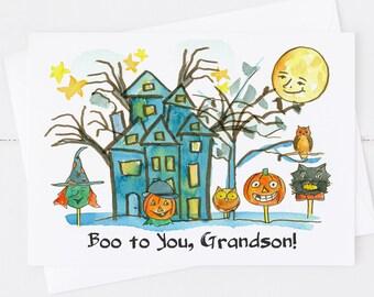 Happy Halloween Grandson Blank Greeting Card