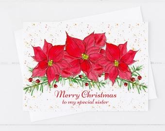 Sister Merry Christmas Poinsettias Greeting Card Custom Name