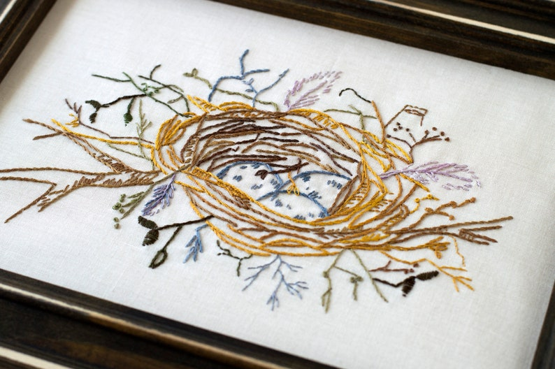 Bird Nest Feathers Hand Embroidery PDF Pattern Instant image 0