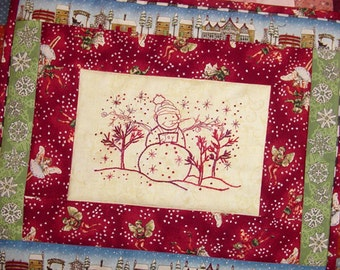 Snowman Christmas Redwork Hand Embroidery PDF Pattern