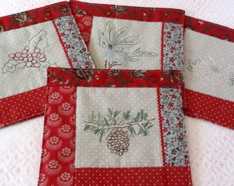 Holiday Botanicals Mug Rugs Hand Embroidery Pattern Set Pinecone Holly Berry