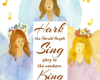 Christmas Hark The Herald Angels Sing Greeting Card Christian Religious