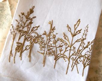Prairie Plants Linen Tea Towel Hand Embroidery Pattern Kit