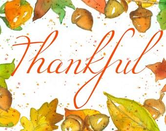 Thankful Autumn Greeting Card Set Acorns Autumn Leaves Sunflowers