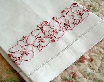 Pink Pansy Flowers Tea Towel Hand Embroidery Kit