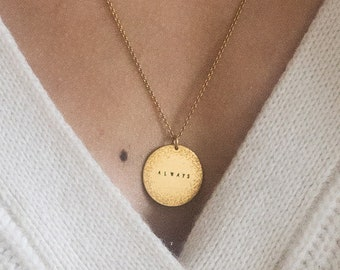 Personalized Disc Necklace   Small Coin Necklace   Circle Necklace   Handmade Hand Stamped Minimalist Necklace   Sterling Silver   Gold