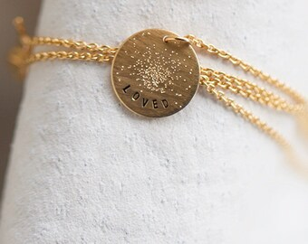 Personalized Disc Necklace   Mini Coin Necklace   Circle Necklace   Handmade Hand Stamped Minimalist Necklace   Sterling Silver   Gold