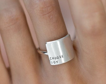 Statement Ring   Wide inspiRING   Inspirational   Minimalist Ring   Sterling Silver   Gold