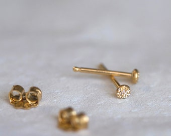 Tiny Round Stud Earrings   Diamond Dusted Fleck Studs   Handmade Minimalist Stud Earrings   Sterling Silver   Gold