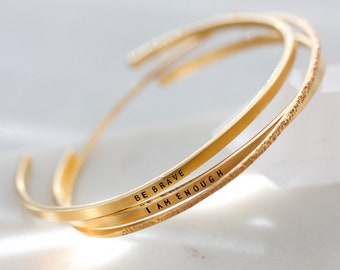 Inspirational Cuff Bracelet   Narrow Inspiracelet Cuff   Handmade Hand Stamped Minimalist Bracelet   Sterling Silver   Gold