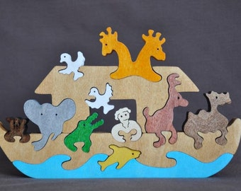 Noahs Ark Wood Puzzle Toy Hand Cut with Scroll Saw