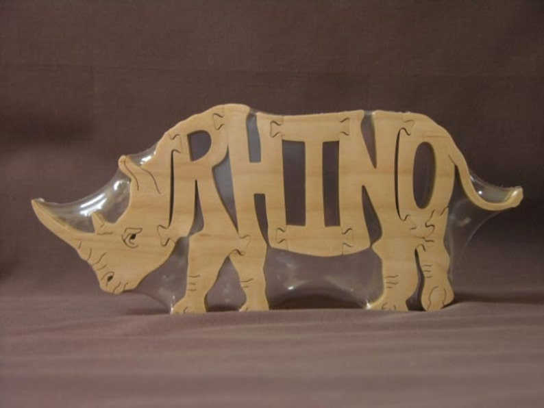 Rhino Rhinoceros Animal Puzzle Wooden Toy Hand  Cut with image 0