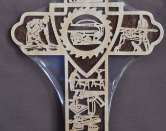 Wood Shop Carpenter Worker Tools Scrolled Wooden Cross Wall Hanging Gift