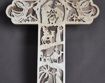 Nativity  Scrolled Wooden Cross Wall Hanging