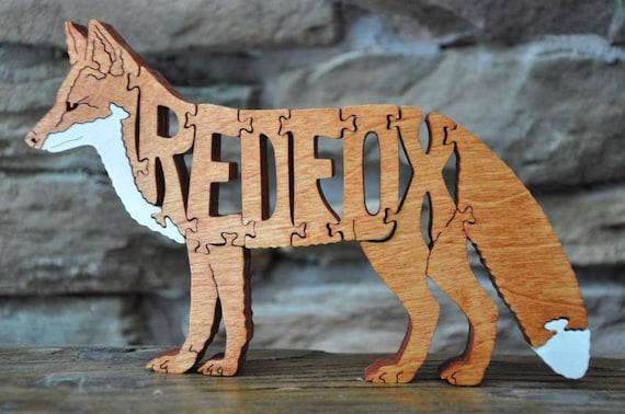 Le renard roux Puzzle animaux en bois-jouet à la main coupe avec scie à chantourner nouveau DESIGN