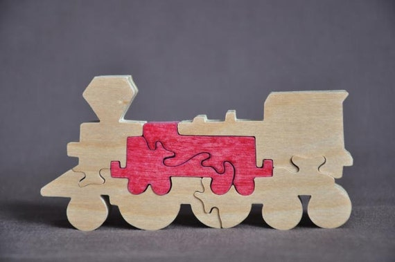 Train Toy Hand Cut Wooden Puzzle Made in USA
