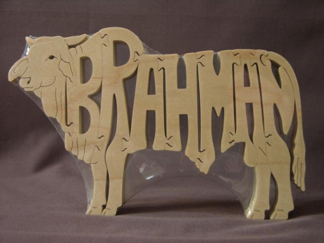 Brahman Rodeo Bull Or Cow Animal Puzzle Wooden Toy Hand