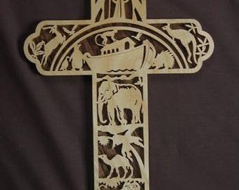 Noah's Ark Scrolled Wooden Cross Wall Hanging Biblical Wall Art