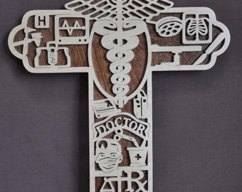 Dr. Doctor Physician  Cross Scrolled Wooden Cross Wall Hanging Gift