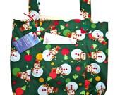 Snowman Walker Bag - Seasonal Walker Tote with Snowmen - Free Shipping