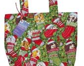 Stocking Stuffers Walker Bag - Seasonal Walker Tote with Puppies in Stockings - Free Shipping