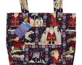Santa's Friends Walker Bag - Seasonal Walker Tote with Santa and Polar Bears - Free Shipping