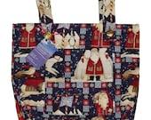 Santa's Friends Walker Bag - Seasonal Walker Tote Caddy with Santa and Polar Bears - Free US Shipping - Handmade Walker Bag for Mobility