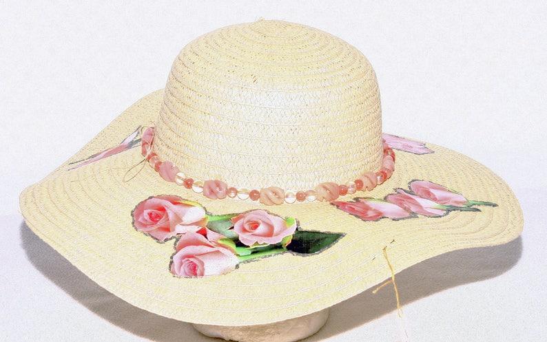 24707a4d Pink Rose Beach Hat Sun Hat Decorated Pink Quartz Hatband   Etsy