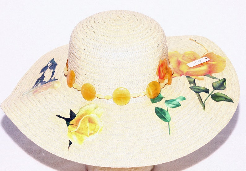 8a7bd0be Floppy Yellow Rose Beach Hat Sun Hat Decorated Citron Beaded   Etsy