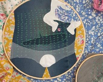 Original embroidery hoop artwork 'Wearing Thin' sashiko visible mending art