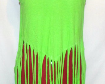 Fringe tank , New take on fringe , bikini / bandeau cover  cut up t , reconstructed , open back tank