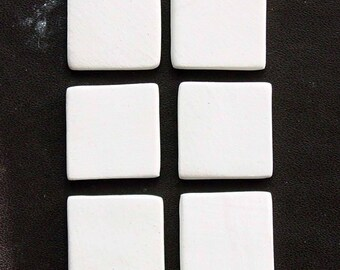 Blank Ceramic Mini Square Cabochons or Tiles - Approx. 11/16 inch