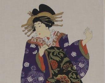 Japanese Art Tenugui 'Courtesan' Cotton Japanese Geisha Fabric w/Free Insured Shipping