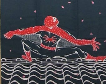 Spider Man and Cherry Blossoms Motif Marvel Japanese Cotton Fabric Sakura Tenugui Cloth