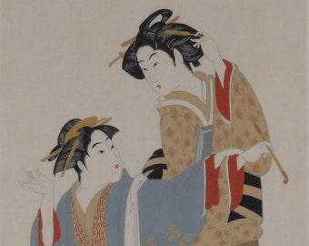 Japan Fabric Cotton Tenugui 'Two Beauties' w/Free Insured Shipping
