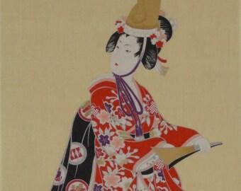 Tenugui 'Kabuki Dancer' Cotton Japanese Fabric w/Free Insured Shipping