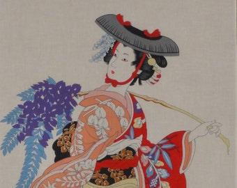 Tenugui Cloth 'Wisteria Maiden' Cotton Japanese Fabric w/Free Insured Shipping