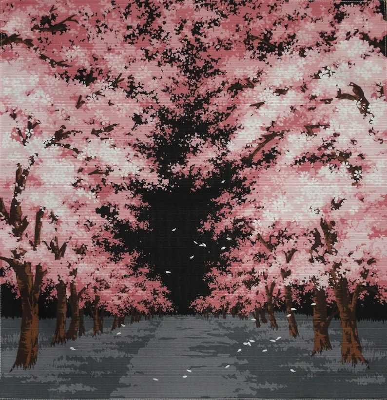 Japanese Cherry Blossom Tree Furoshiki Night Sakura Etsy