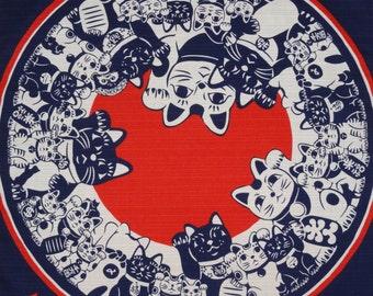 Maneki Neko Collection Motif Beckoning Cat Furoshiki, Cotton Japanese Fabric, Lucky Cats, Navy and Red 50cm w/Free Insured Shipping