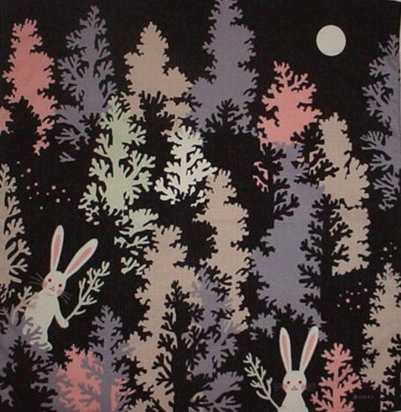 Furoshiki Japanese Fabric Cloth /'Rabbits /& Squirrel at Harvest Time/' Cotton 50cm