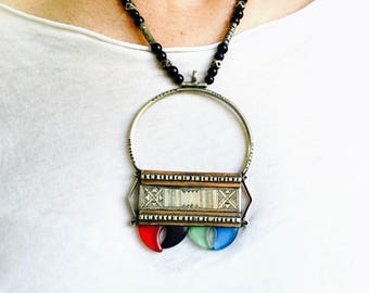 Tuareg Tribal Pendant Necklace. Glass, Silver, Copper and Onyx.