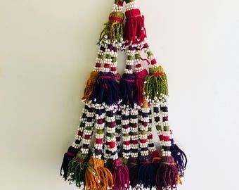 2 Large Vintage Silk Afghan Tribal Beaded Tassels. Door Or Wall Decor