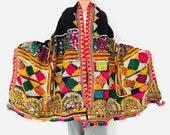 Vintage Banjara Rabari Wool Shawl And Throw. Mirror work and Embroidered