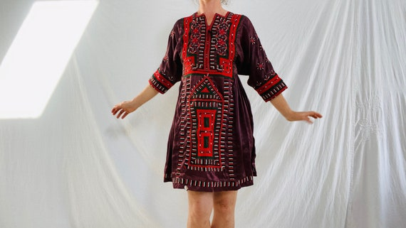 Vintage Balochi Hand-Embroidered Satin Dress. XS-S
