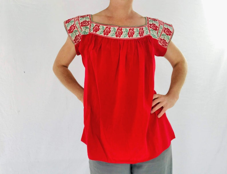 Size L Mexico Puebla Hand-Embroidered Nahua Blouse
